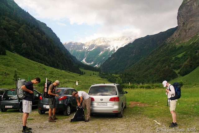 Ready for departure to go fly fishing the Swiss Alps