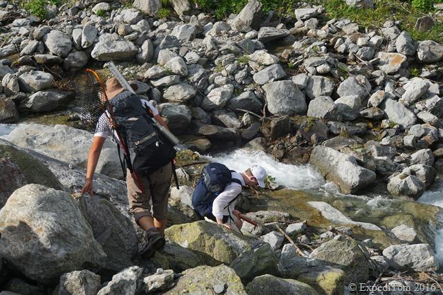 Climbing down to the creek