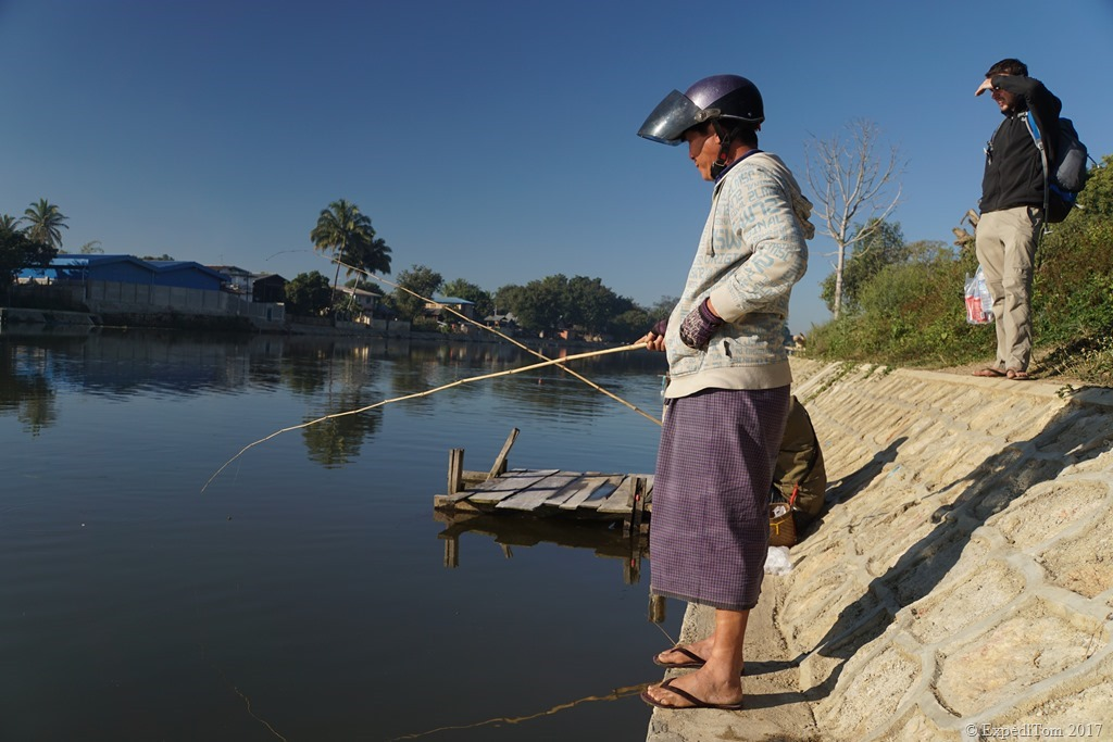 Locals fishing in Loikaw Myanmar with Rice.