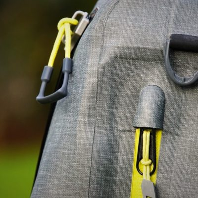 The zippers of the Orvis waterproof sling pack