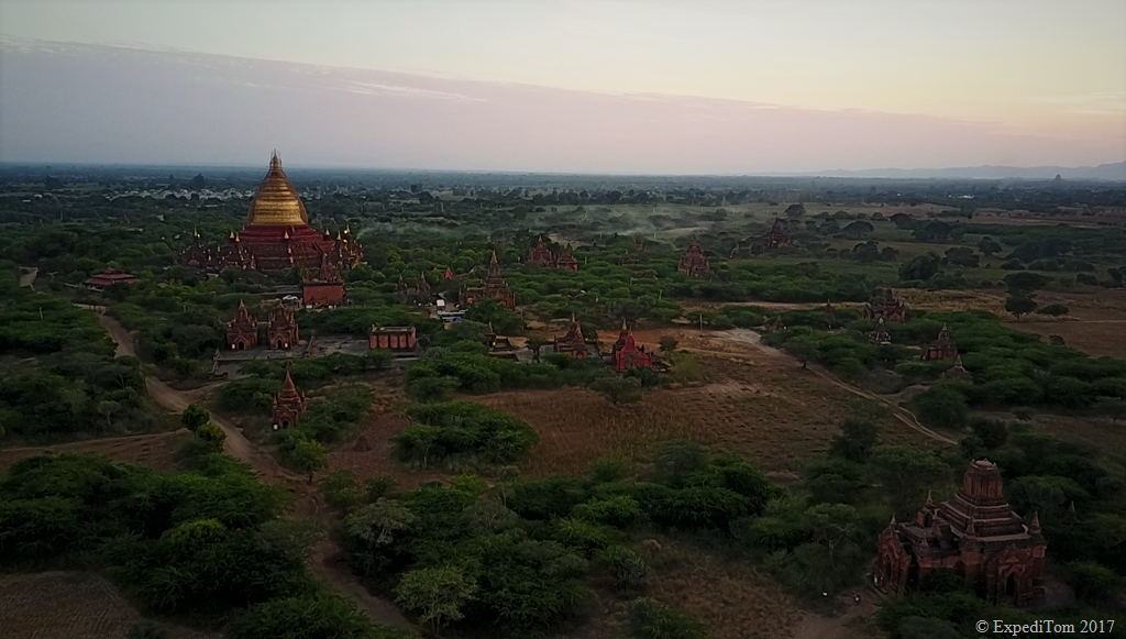 Dhammayazika Pagoda just outside of New Bagan where you turn left