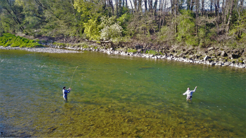 Jan and Claudio fly fishing a promising looking run in the Aare in Switzerland