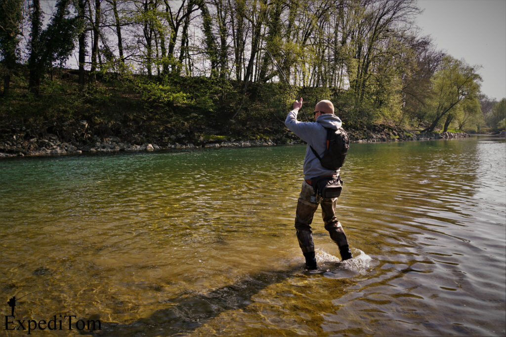 Claudio in the drill with a decent barbel from the Aare in Switzerland