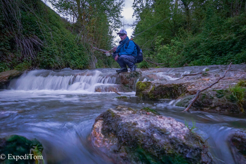 Long-exposure shot with Robin Melliger and the Taimen Kathanga wading boots