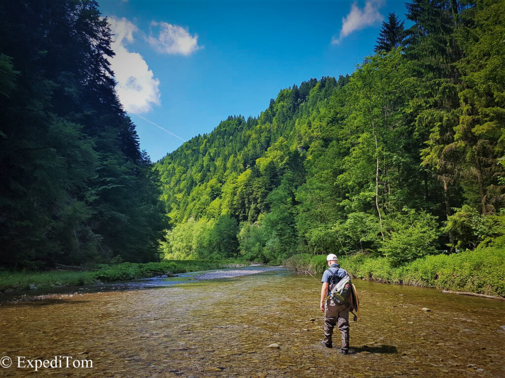 Stunning scenery in the gorge while doing some fly fishing exploration in Switzerland