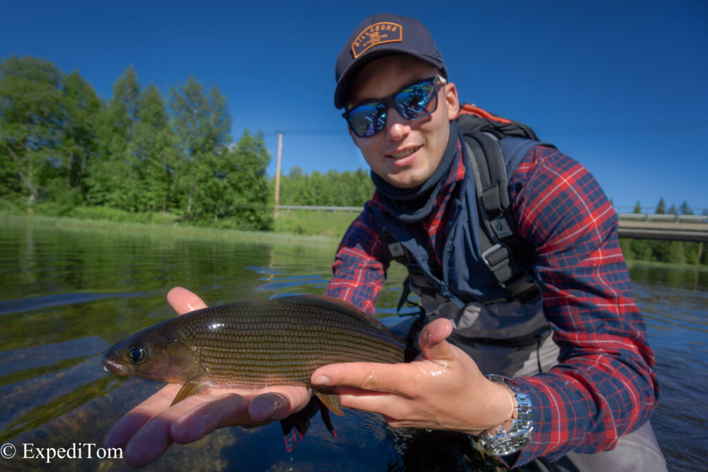 Jan with a grayling caught at the bridge pool at the Långan river, Jämtland Sweden