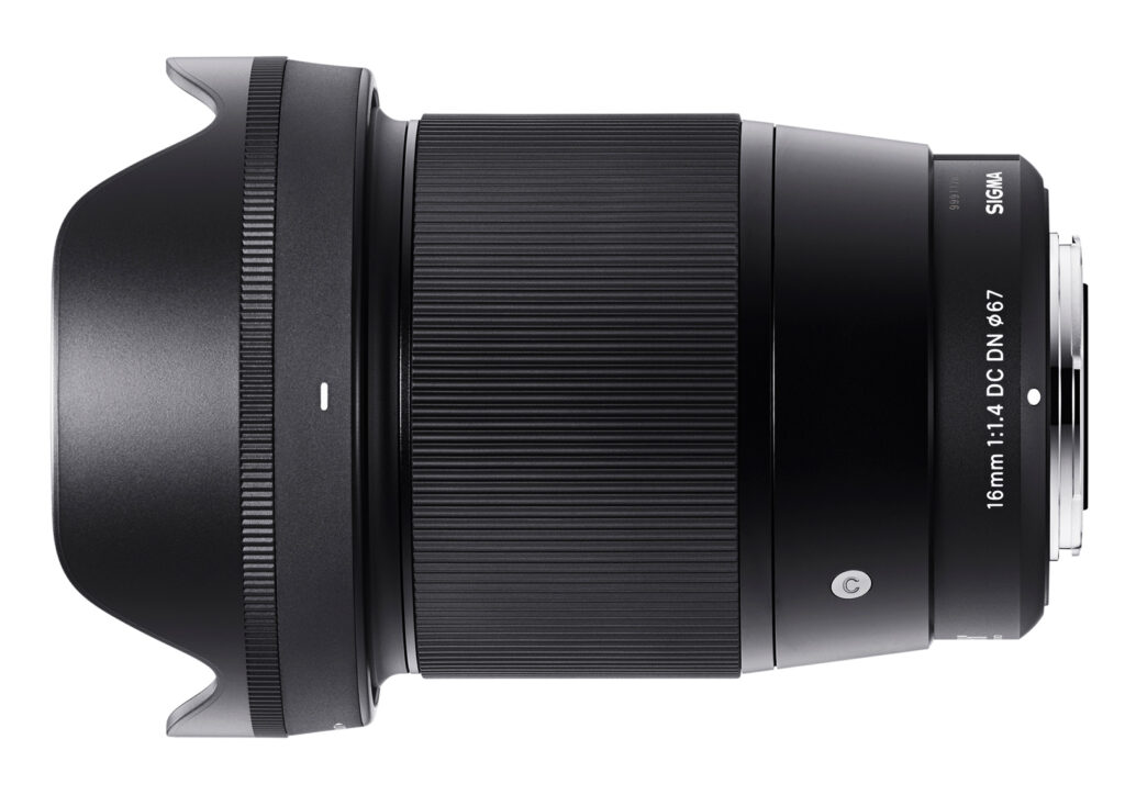 Sigma 16mm f/1.4 with lens hood