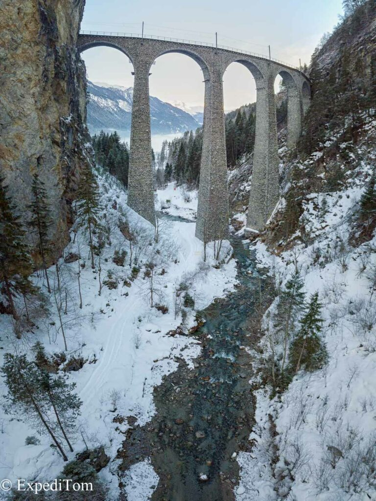 The Landwasser Viaduct in Switzerland - one of the most iconic UNESCO World Heritage sights in Switzerland.