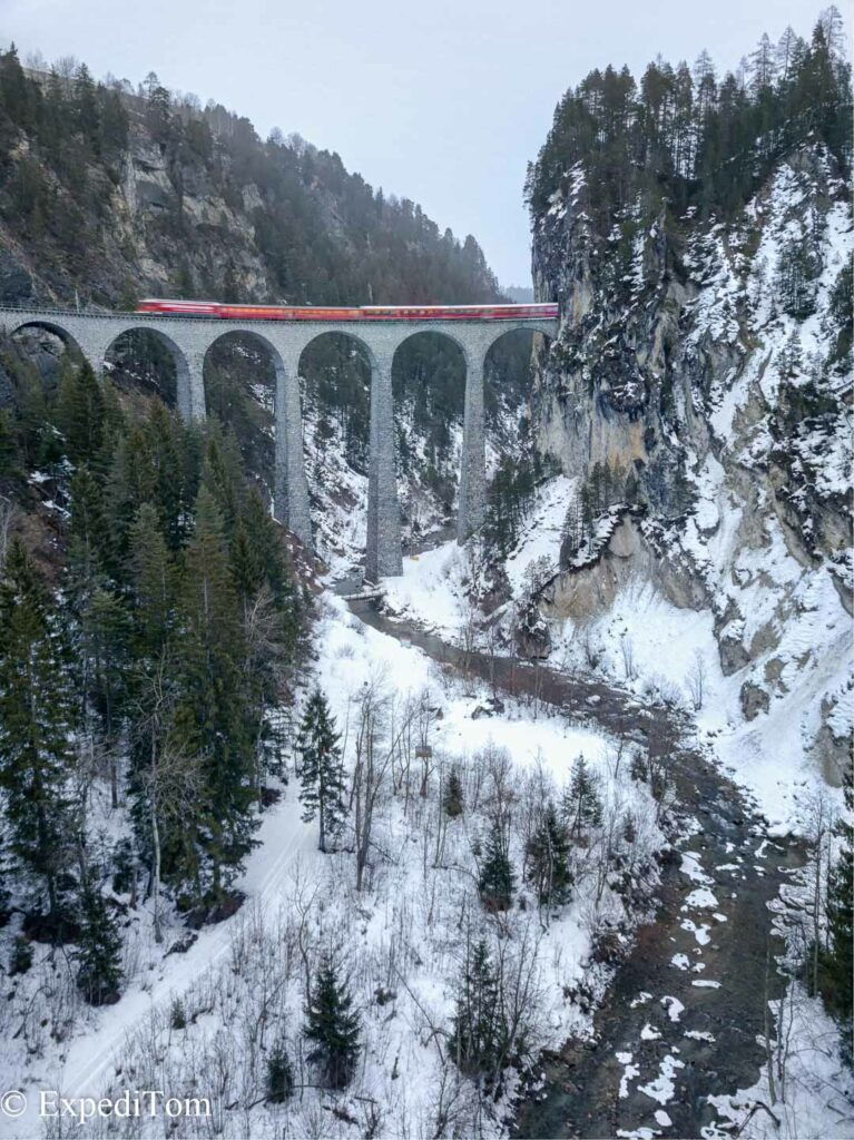 Drone composite of 3 exposures of the Landwasser Viaduct in Switzerland.Howver, all of them were too long in that the train was blurry. Bugger.