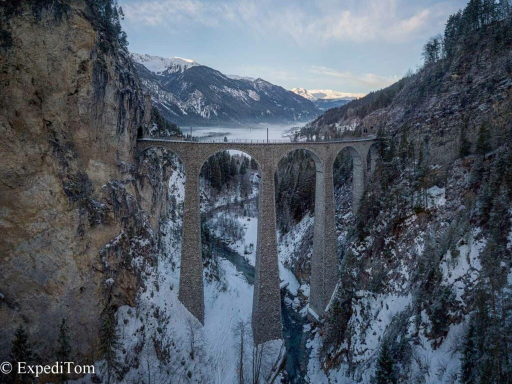 Birds view of the Landwasser Viaduct in Switzerland on a moody morning.